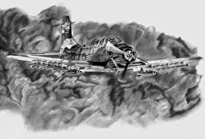 Hintergrundbilder Flugzeuge Gezeichnet Schwarzweiss US Flug Douglas A-1 Skyraider