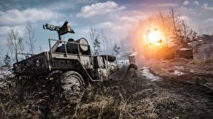Papel de Parede Desktop Battlefield 1 Armamento Explosão Lama Jogos 3D_Gráfica