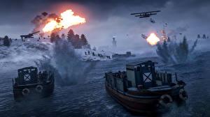 Wallpaper Battlefield 1 Speedboat Landing operation Firing vdeo game 3D_Graphics