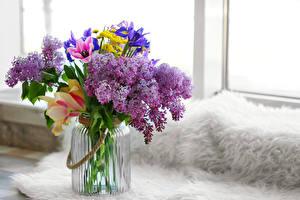 Image Bouquets Lilac Tulips Irises Jar Flowers