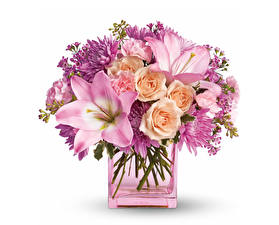 Fotos Sträuße Lilien Rosen Chrysanthemen Weißer hintergrund Vase Blumen