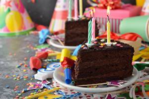 Images Cakes Birthday Candles Chocolate Pieces Food