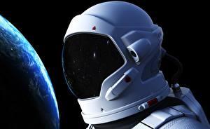 Bilder Astronauten Großansicht Helm Kosmos