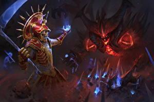 Photo Diablo III Warrior Magic Scythe Necromancer vs Diablo Games Fantasy