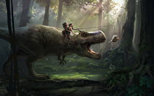 Fotos Dinosaurier Bäume Lustige Fantasy