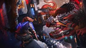 Fonds d'écran Dragons Rictus Dents Fantasy Filles