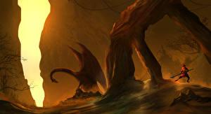 Bureaubladachtergronden Een draak Krijger Fantasy