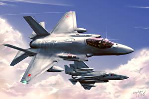 Bilder Flugzeuge Jagdflugzeug Gezeichnet Japanische F-35J ASDF-X1