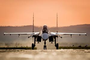 Hintergrundbilder Flugzeuge Jagdflugzeug Soukhoï Su-30 Russischer Vorne SM Luftfahrt
