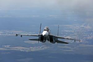Hintergrundbilder Flugzeuge Jagdflugzeug Soukhoï Su-30 Russisches Su-30SM Luftfahrt