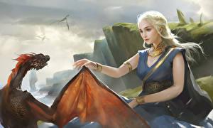 Bilder Game of Thrones Daenerys Targaryen Drache Blondine Fantasy Mädchens
