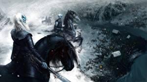 Fotos Game of Thrones Krieger Pferde Fanart Film