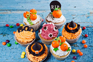 Pictures Halloween Little cakes Candy Fairy cake Design Food