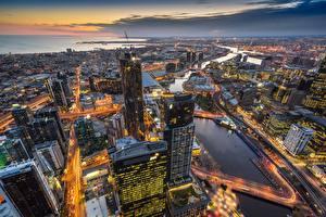 Fondos de escritorio Edificio Rascacielos Tarde Melbourne Australia Desde arriba Eureka Tower