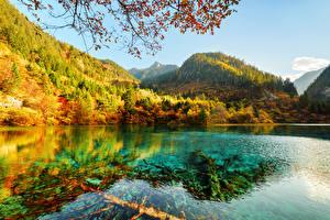 Hintergrundbilder Jiuzhaigou park China Park Gebirge Herbst See Wälder Landschaftsfotografie Natur