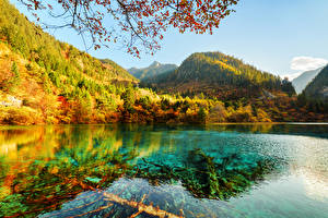 Sfondi desktop Valle del Jiuzhaigou Cina Parco Montagne Autunno Lago Foreste Paesaggio Natura