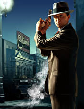 Tapety na pulpit L.A. Noire Mężczyzna Pistolety Kapelusz Policja Garnitur