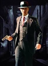 Tapety na pulpit L.A. Noire Mężczyźni Pistolet Kapelusz Policja Garnitur
