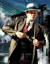 Tapety na pulpit L.A. Noire Mężczyźni Pistolet Kapelusz Policyjny Garnitur gra wideo komputerowa