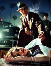 Tapety na pulpit L.A. Noire Mężczyźni Policjanci Martwy Krew Kapelusz Dziewczyny
