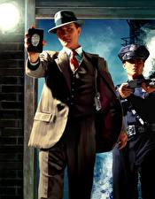 Tapety na pulpit L.A. Noire Mężczyźni Policyjny Dwóch Kapelusz Garniturze