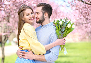 Image Love Men Bouquets Lovers Two Brown haired Smile Hugs Beards Dating young woman