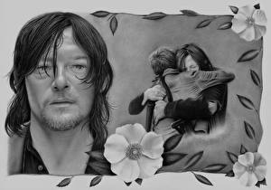 Pictures Love Painting Art Couples in love The Walking Dead TV Man Norman Reedus Black and white Daryl and Carol Celebrities