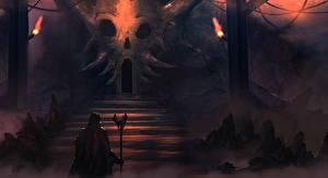Hintergrundbilder Magier Hexer Magierstab Treppe Fantasy