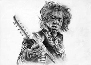 Wallpapers Men Painting Art Black and white White background Negroid Guitar Jimi Hendrix