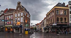 Wallpapers Netherlands Houses Street Bike Zwolle Cities