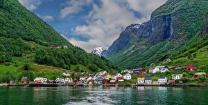 Wallpapers Norway Mountains Rivers Building Forest village Undredal Cities