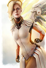Pictures Overwatch Angels Mercy Games Fantasy Girls