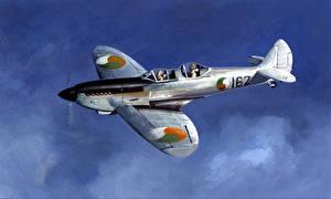Hintergrundbilder Flugzeuge Gezeichnet Jagdflugzeug Spitfires Luftfahrt