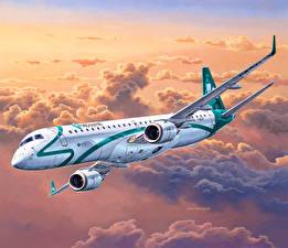 Bilder Gezeichnet Flugzeuge Verkehrsflugzeug Flug Embraer ERJ 19