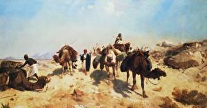 Bilder Malerei Wüste Altweltkamele Jean-Leon Gerome, Crossing the Desert