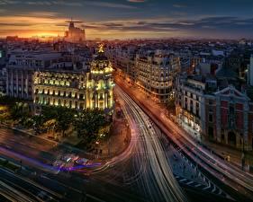 Hintergrundbilder Wege Haus Abend Madrid Spanien Von oben Straße Fahrendes