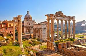 Hintergrundbilder Rom Italien Ruinen Säule Arch Septimius Severus, Temple Saturn Städte