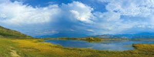 Picture Russia Siberia Rivers Sky Grasslands Grass Clouds Nature