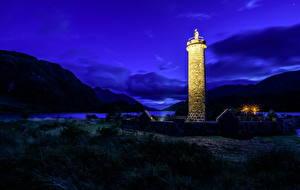 Bilder Schottland Küste Leuchtturm Berg Nacht Glenfinnan Natur