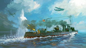 Images Ship Painting Art Airplane American Firing Clemson-class destroyer of the US Asiatic fleet repels Japanese attack on 28th December, 1941.