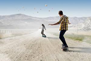 Wallpaper Skateboard Roads Two Guys sports Girls
