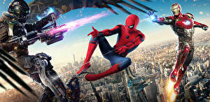 Wallpaper Spider-Man: Homecoming Spiderman hero Superheroes Iron Man Firing Vulture Movies