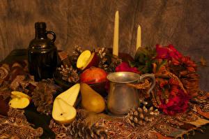 Image Still-life Pears Candles Bottle Mug Conifer cone