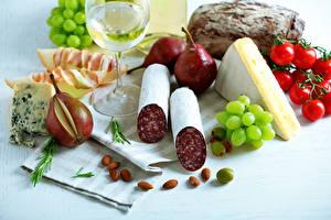 Hintergrundbilder Stillleben Wurst Käse Tomate Birnen Weintraube Schalenobst