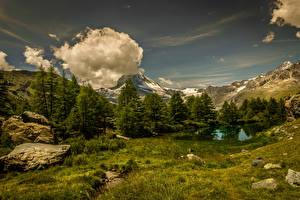 Fotos Schweiz Gebirge See Himmel Steine Landschaftsfotografie Wolke Bäume Gras Kanton Wallis