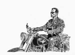 Bureaubladachtergronden Terminator 2: Judgment Day Arnold Schwarzenegger Getekende Zwart witte Motorrijder Witte achtergrond Films