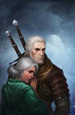 Fotos The Witcher 3: Wild Hunt Mann Geralt von Rivia 2 Ciri Mädchens Fantasy