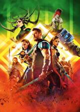 Hintergrundbilder Thor: Tag der Entscheidung Chris Hemsworth Tom Hiddleston Krieger Tessa Thompson, Cate Blanchett, Mark Ruffalo, Jeff Goldblum Film Prominente