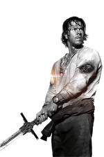 Wallpapers Transformers: The Last Knight Man Mark Wahlberg Swords White background Black and white Cade Yeager Movies Celebrities