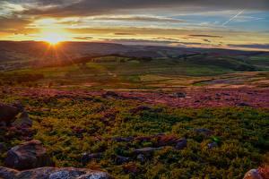 Hintergrundbilder Vereinigtes Königreich Landschaftsfotografie Sonnenaufgänge und Sonnenuntergänge Acker Derbyshire